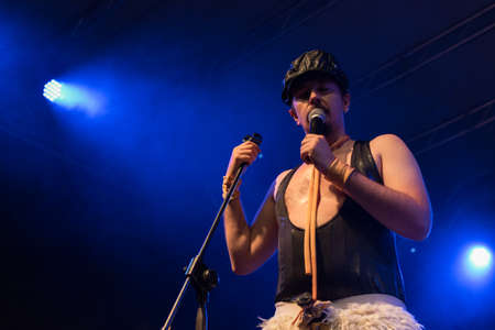 Bergamo, Italy - June 29, 2018: The Italian comedy heavy metal band from Rome, NANOWAR OF STEEL performs at BIRRANBANDA Festival of Sanpaolo d'Argon (BG). Brambilla Simone Live News photographer