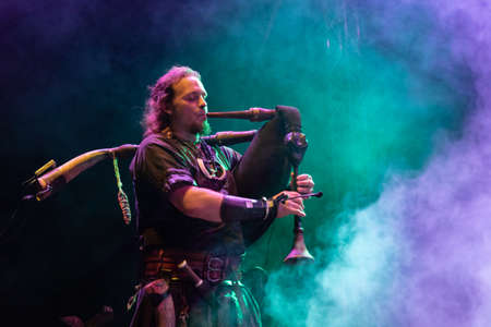 Bergamo, Italy - July 29, 2018: The Belgian Pagan-Folk Neo-Medieval band ACUS VACUUM performs at 6th Folk and Metal Fest of Malpaga (BG). Brambilla Simone Live News photographer