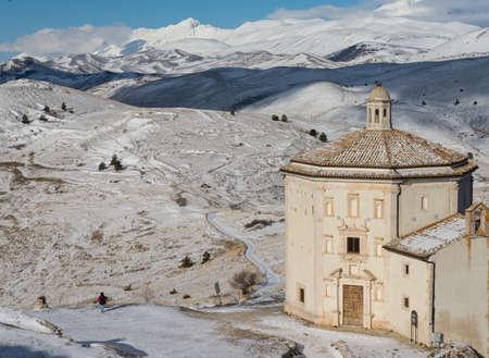 Oratory of Santa Maria della Piet? in Calascio in Abruzzo, Italian snowy winter landscape