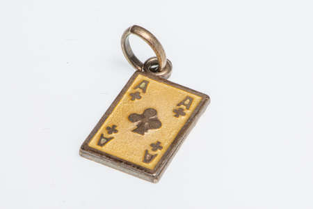 Gold pendant in the shape of a playing card, Ace of clubs, jewel detail image
