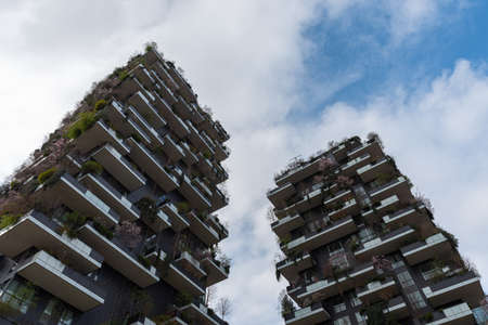 Cityscape with skyscrapers with gardens on the terraces, Vertical Garden in the city