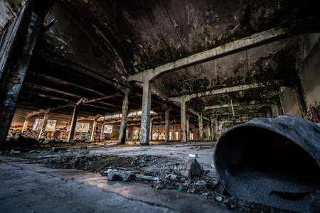 Urbex photography in a former abandoned cotton mill in Italy Reklamní fotografie