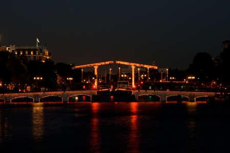 skinny bridge amsterdam by night