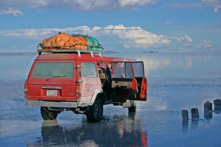 high plateau: Crossing Salar de Uyuni by SUV in Bolivia