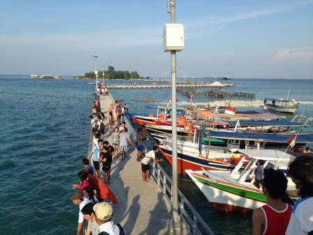 cinta: Jembatan Cinta at Tidung Island Stock Photo