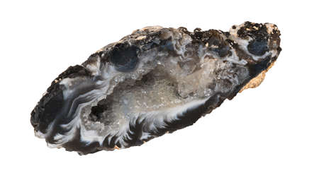 faceting: Chalcedon geode from Brazil isolated