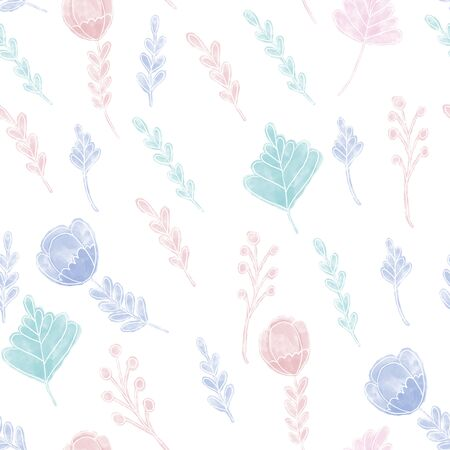 Flowers seamless pattern for baby pajamas design. Surface design for fabric and wallpapers.