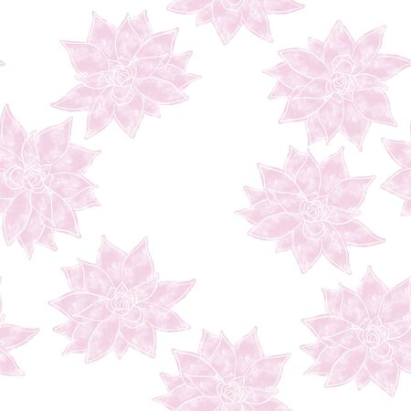 Pink echeveria seamless pattern. Surface design for wallpapers and textile products.