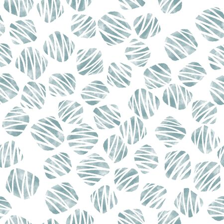Green balls watercolor abstract seamless pattern with white stripes.