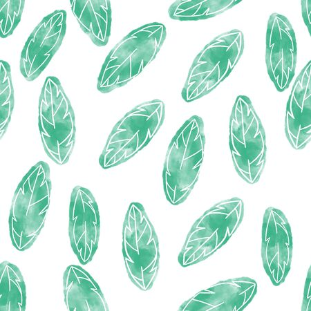 Watercolor leaves seamless pattern. Surface design for textile and wallpaper.