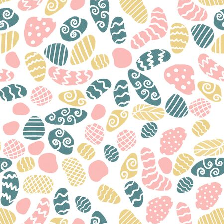 Minimalist scandinavian style seamless pattern with stones in doodle style.