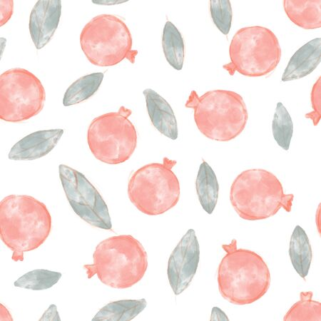 Pomegranate seamless pattern. Surface design for wallpapers and textile products. 版權商用圖片