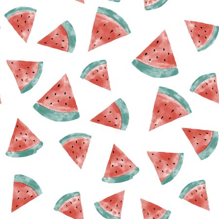 Watermelon watercolor seamless pattern for textile design.