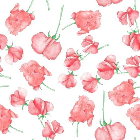Antirrhinum flowers seamless pattern on white. Textile and print design. Foto de archivo