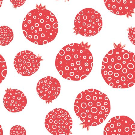 Abstract pomegrenate seamless pattern on white.