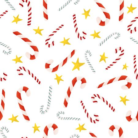 Candy canes vector seamless pattern. Christmas design. Holidays. Vettoriali