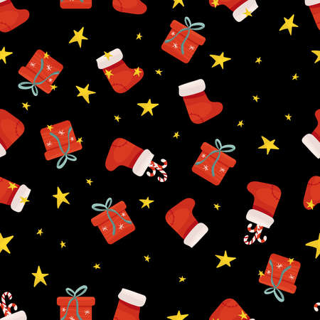Gift boxes, stars and red christmas socks seamless pattern.
