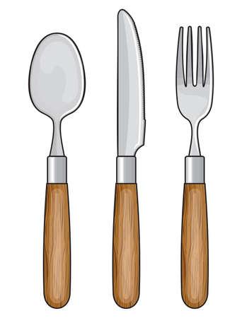 Coltello di legno, forchetta e cucchiaio Vettoriali