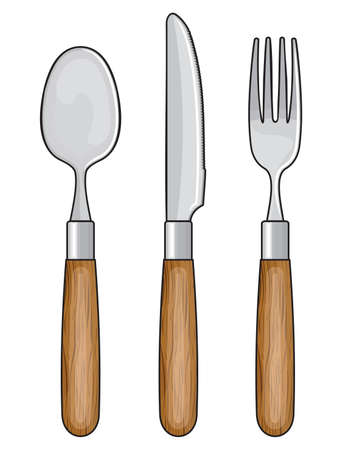 cubiertos de plata: Cuchillo de madera, tenedor y cuchara