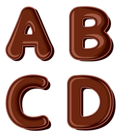 Chocolate letter A B C D isolated on white background Vector