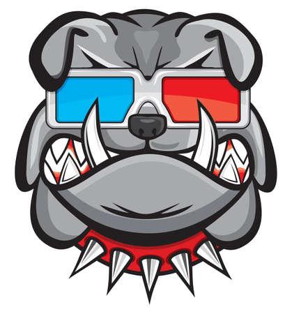 buldog: Perro con gafas 3d
