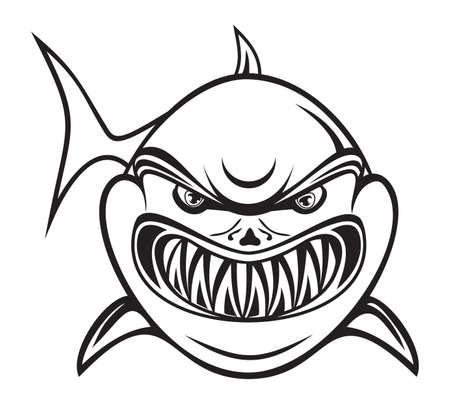shark cartoon: Angry shark black and white