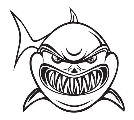 shark cartoon: Angry tiburón blanco y negro