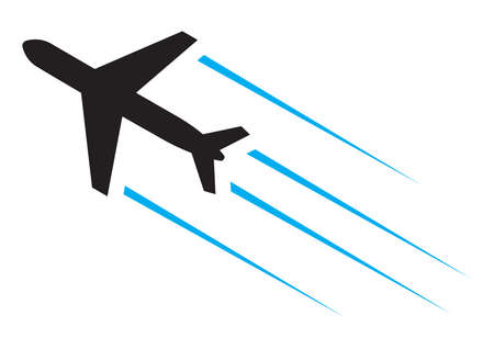 airplane cargo: Flying airplane icon Illustration