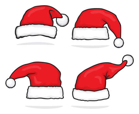 cartoon santa: Santa hat set Illustration
