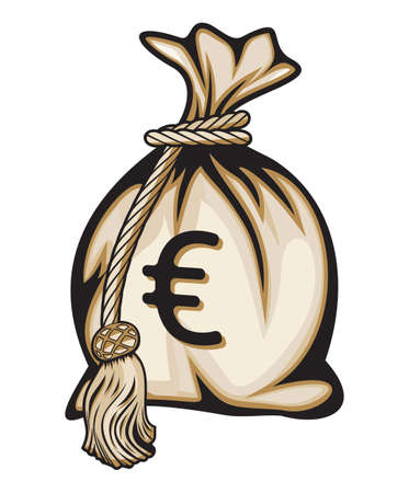 payday: Money bag with euro sign  Illustration