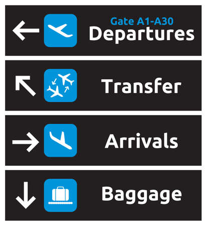 arrivals: Arrival, departures, transfer and baggage airport signs