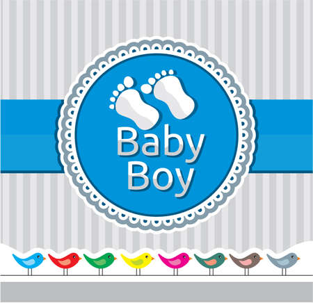 Baby boy arrival announcement card Stock Vector - 15770423