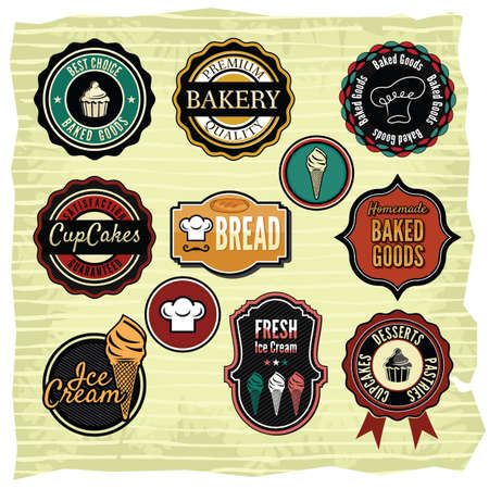 bakery products: Collection of vintage retro grunge food labels, badges and icons Illustration