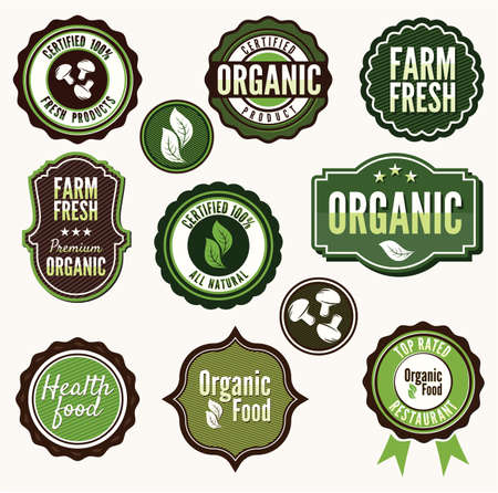 Set of organic and farm fresh food badges and labels Stock Vector - 15770410