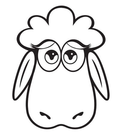 Cute Sheep head black and white Vector