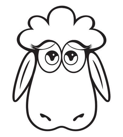 Cute Sheep head black and white Stock Vector - 15770291