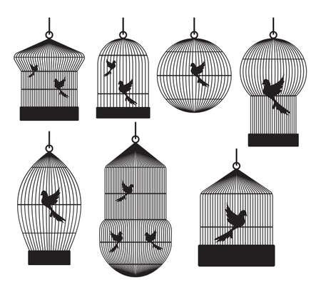 gabbie: Uccelli gabbie Vettoriali