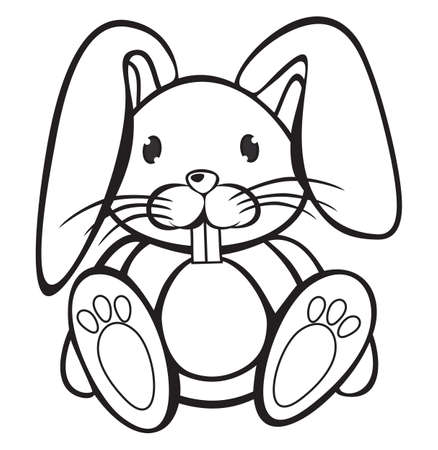 Cute Rabbit black and white Vector