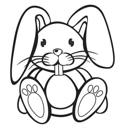 Mignon lapin noir et blanc Vecteurs