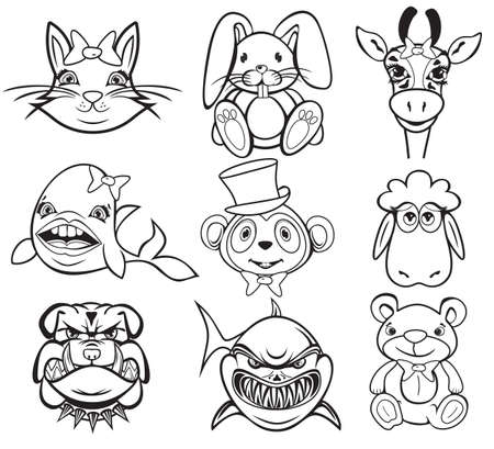 Black and white animal collection Vector