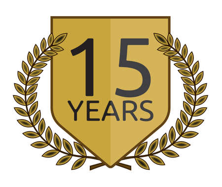Golden laurel wreath 15 years Vector