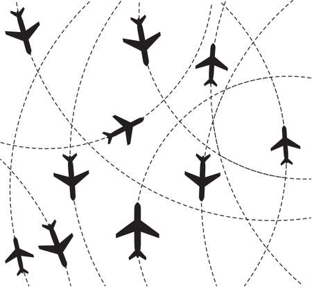 dotted lines: Airplane destination routes