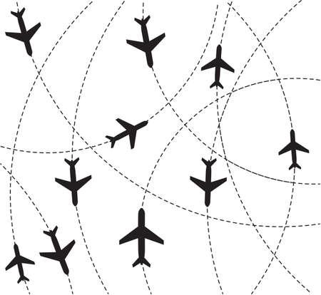 air traffic: Rutas de avi�n destino Vectores