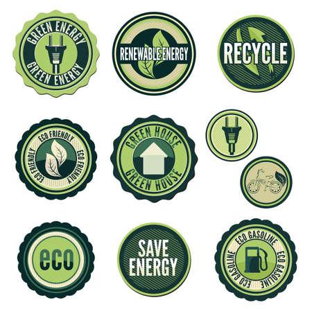 electronic elements: Set di etichette e di elementi per la tecnologia verde Vettoriali
