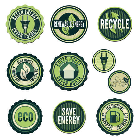industry electronic: Set of labels and elements for green technology