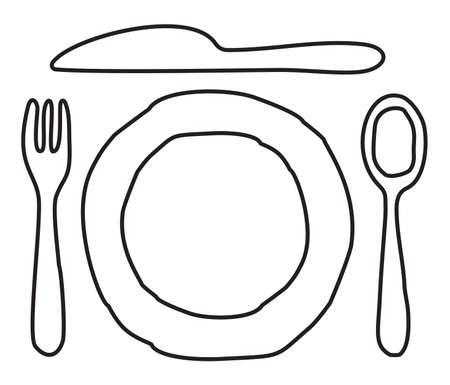 dinner setting: Placa, cuchillo, cuchara y tenedor