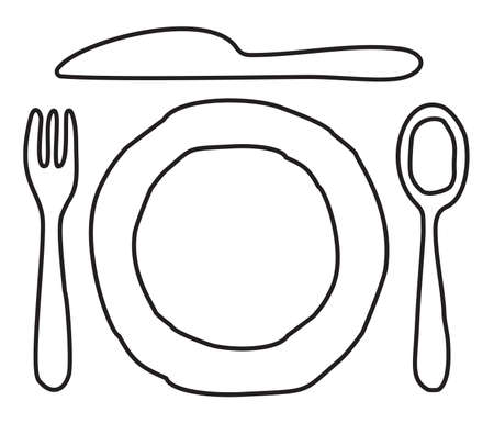 Plate, knife, spoon and fork Stock Vector - 15841764