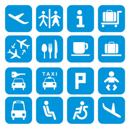 luggage airport: Airport icons - pictogram set