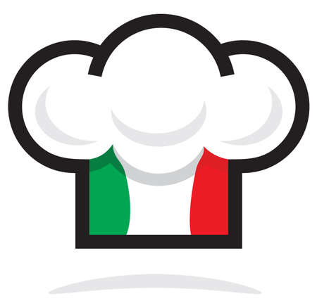 the italian flag: Sombrero del cocinero italiano Vectores