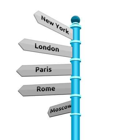new direction: street sign showing cities - new york london paris rome moscow Illustration